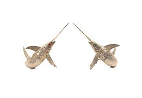 Pair of articulated tail swordfish, silver, med.s.XX