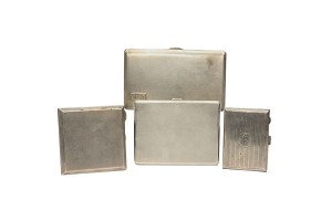 Lot of 4 cigarette cases, english silver, middle 20th century.