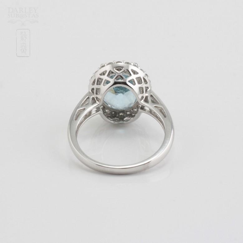 4.28克拉天然海蓝宝石配钻石18K白金戒指 - 1