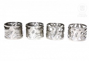 Lot of 925 sterling silver napkin rings, Egypt, 20th century, Egypt