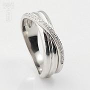 Precioso anillo oro blanco 18k y 0.14cts diamantes - 1