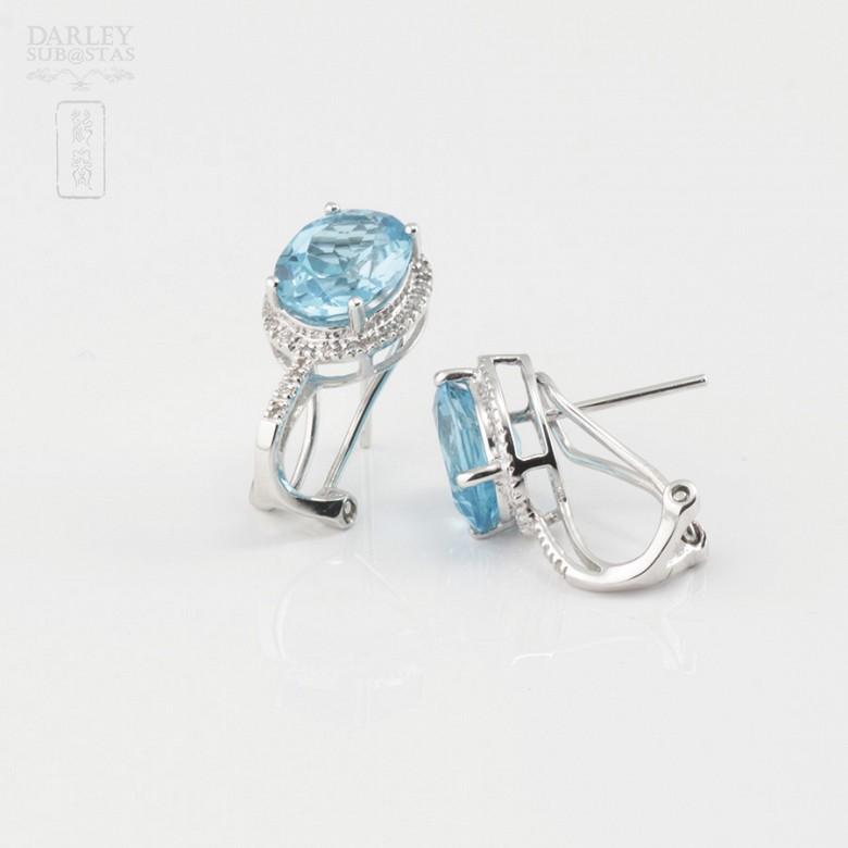 Precious topaz and diamond earrings - 4