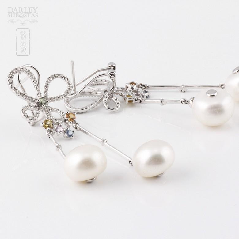 0.56克拉四色宝石配钻石18K白金耳环 - 1
