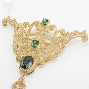 Aderezo de Fallera verde Esmeralda y dorado - 10