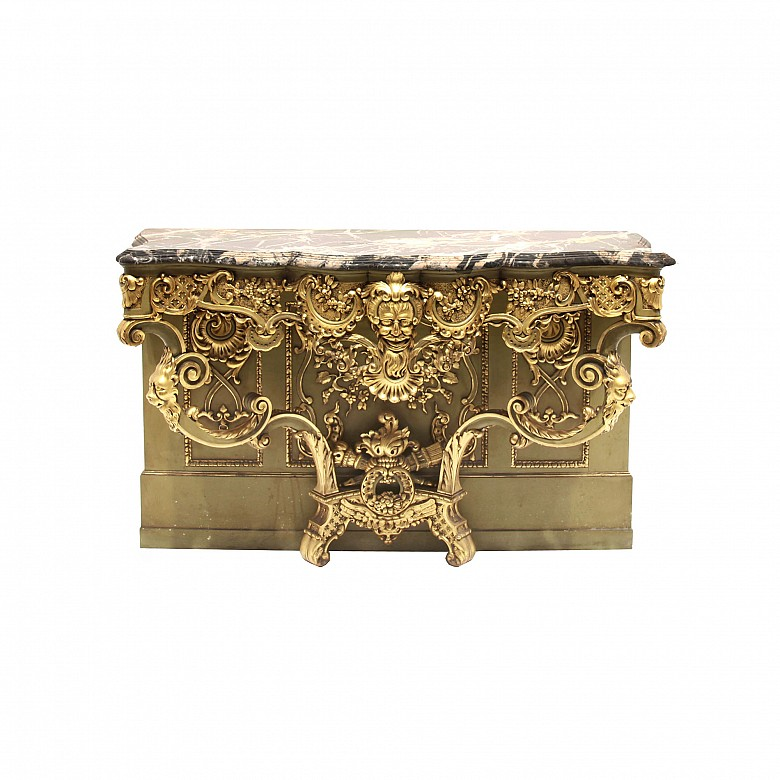 Italian style console in carved and polychrome wood, 20th century
