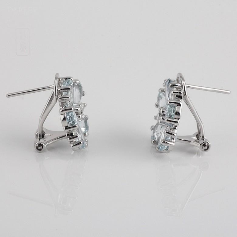 4.01克拉海蓝宝石配钻石18K白金耳环 - 3