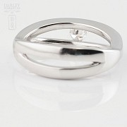 Solitaire ring-18k White Gold and Diamond 0.16cts - 2