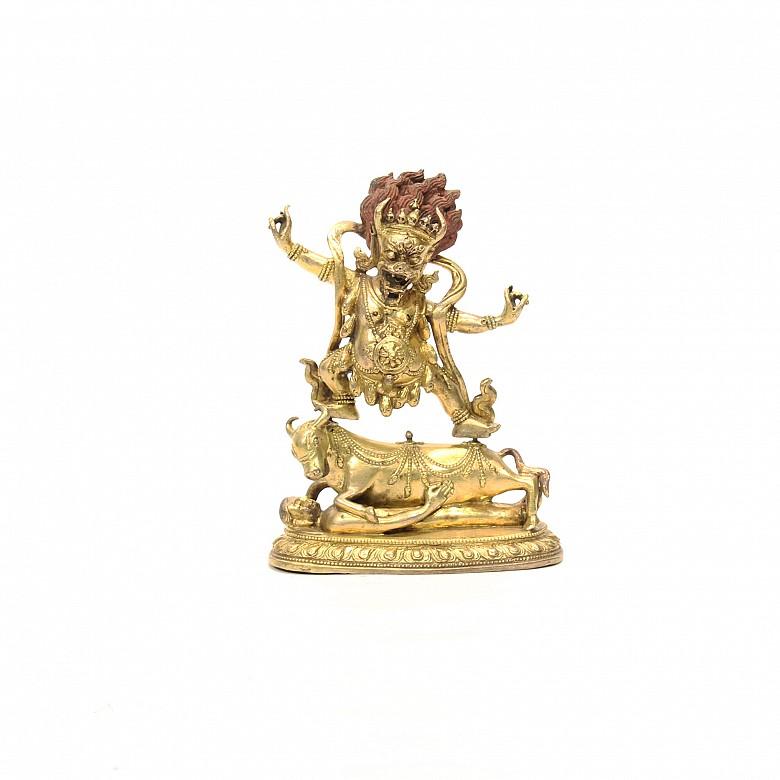 A Gilt-bronze representation of a standing Mahakala deity, 18th-19th century.