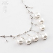 necklace with  Natural pearl and diamonds  in 18k - 4
