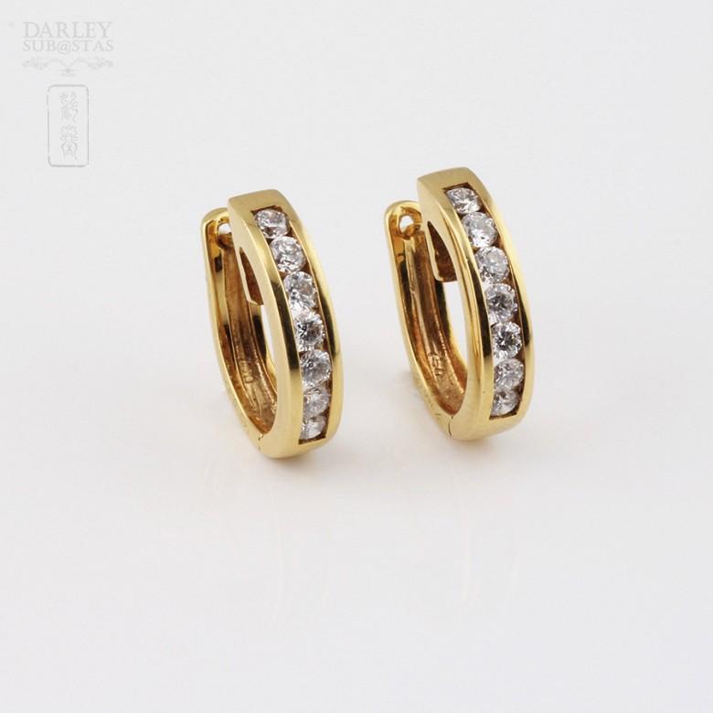 pendientes diamantes 0.55cts en oro amarillo de 18k