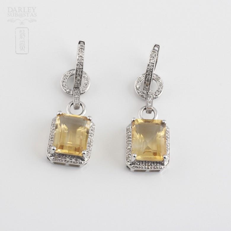 6.34克拉天然黄晶配钻石18K白金耳环 - 3