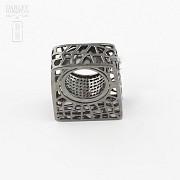 Original anillo en plata ley y rodio negro - 3