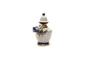Portuguese porcelain vase gold and blue glazed, 20th century