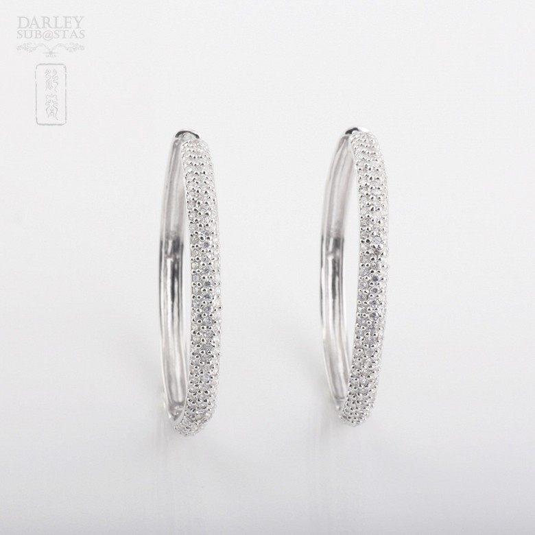 Earrings Zirconia in sterling silver, 925 - 1