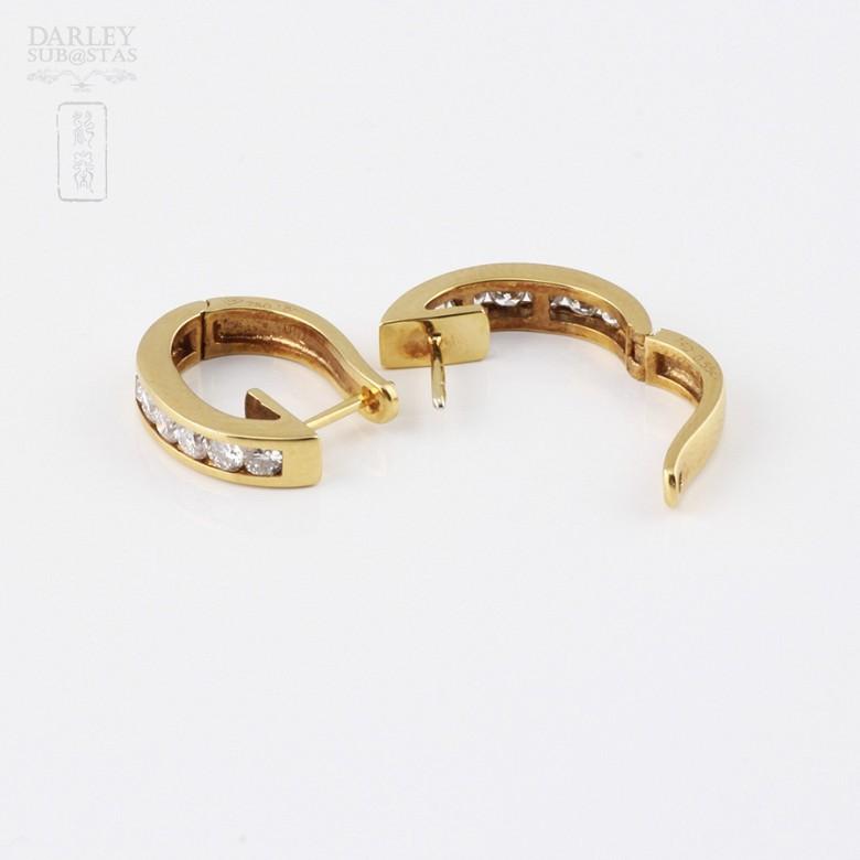 pendientes diamantes 0.55cts en oro amarillo de 18k - 2