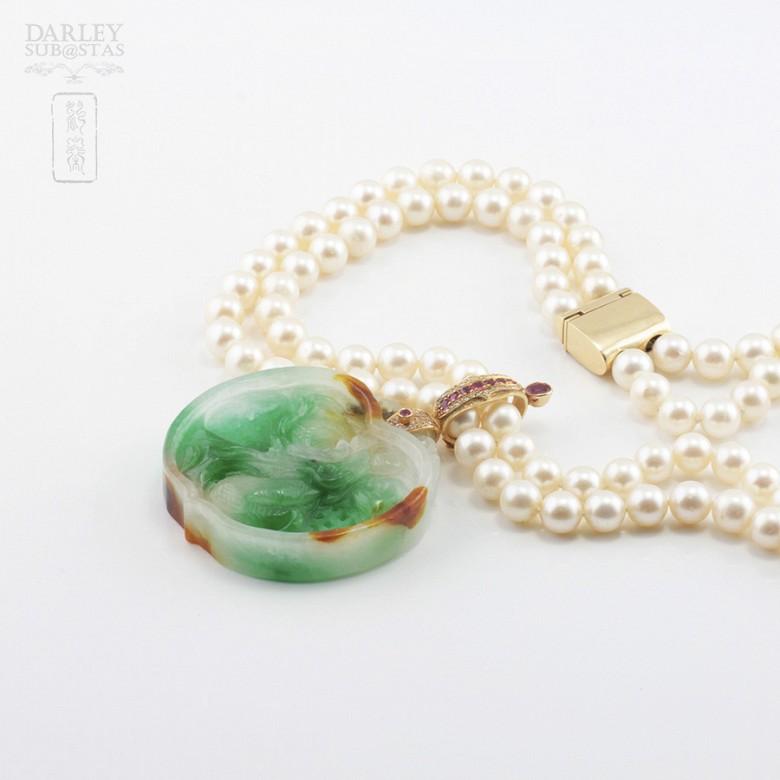 日本海珠挂玉牌镶红宝钻石项链 - 2