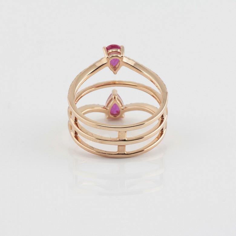 Precioso anillo oro rosa 18k, rubí y diamantes - 4