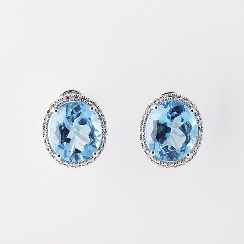 12,44 克拉天然蓝晶配钻石18k白金耳环
