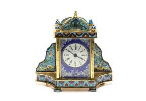 A Cloissoné enamel Bronze mantel clock, 20th century