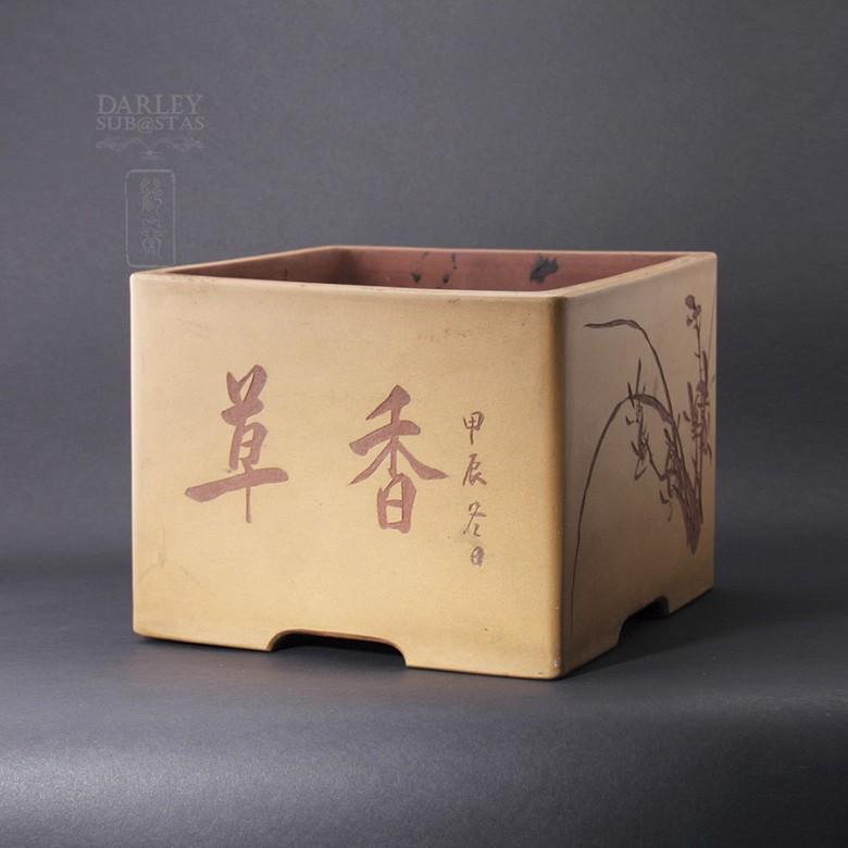 宜兴四方紫砂盆,北岩制