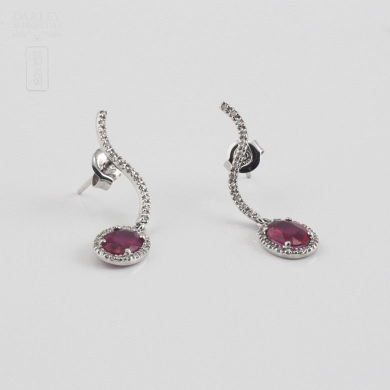 earrings ruby 2.18 cts and diamond in white gold - 1
