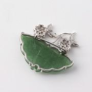 蝶型玉配钻石18K白金胸针 - 2