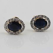 18K黄金镶蓝宝石配钻石耳环 - 2