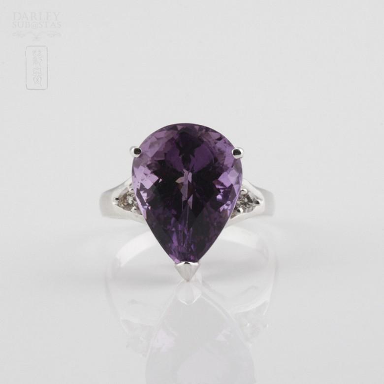 18k白金镶钻石配 深色紫晶戒指 - 4