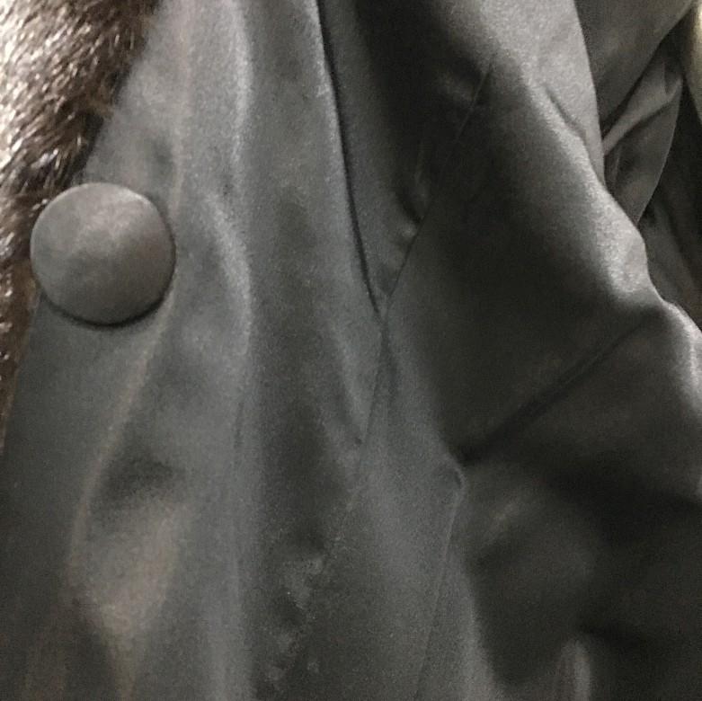 Nice mink fur coat dark brown color and long cut. - 6