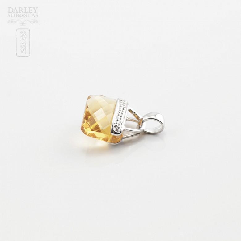 天然黄晶14K白金挂坠 - 2