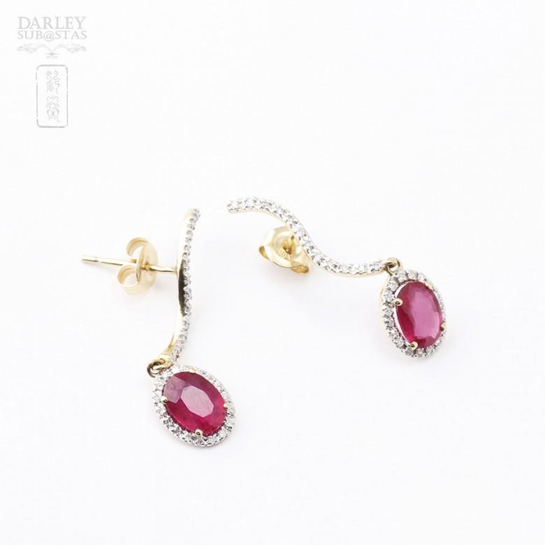 Pendientes rubis 2.18cts y diamante en oro amarillo 18k - 3