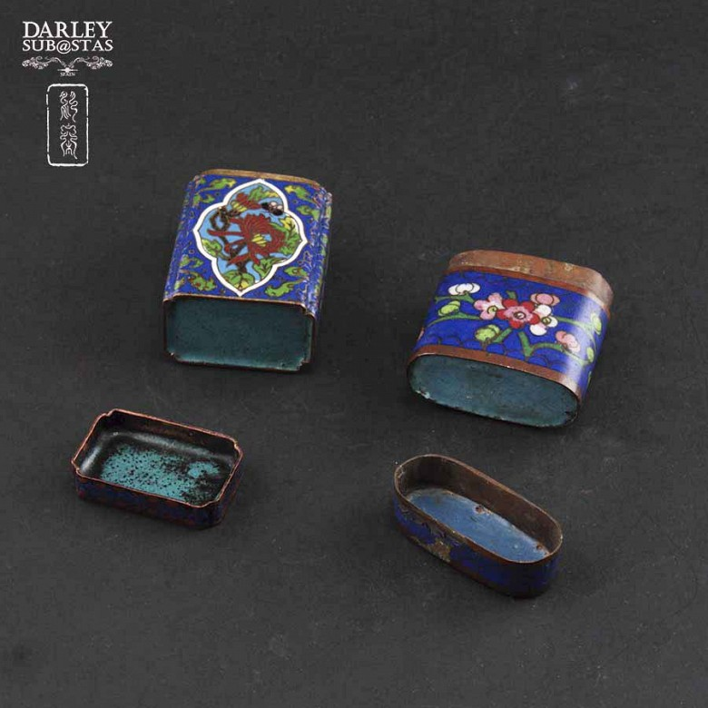 Chinese Cloisonne precious little boxes - 3