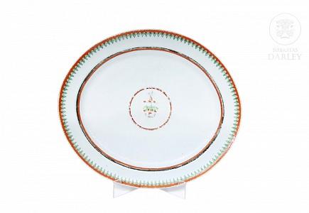 Gran bandeja de porcelana china de exportación, Dinastía Qing, s.XIX