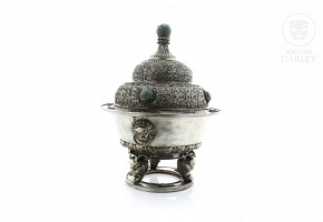 Censer of silver plated copper and inlaid with carved jade.