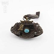 十九世紀 西藏银镶松石小皮挎包 - 1