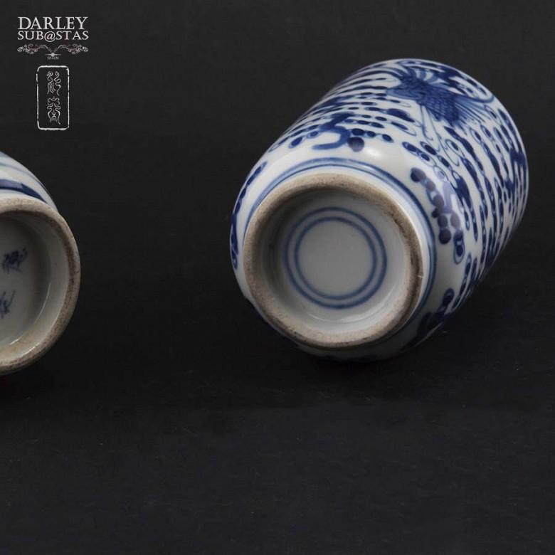 Pareja de jarrones de porcelana china, S.XIX - 3