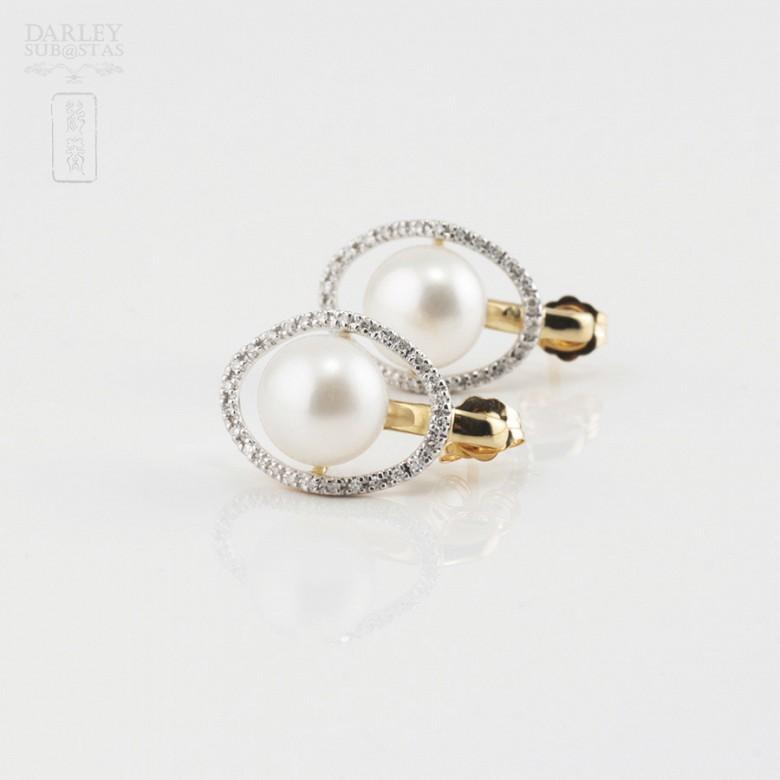 Pendientes con perla y diamantes - 1