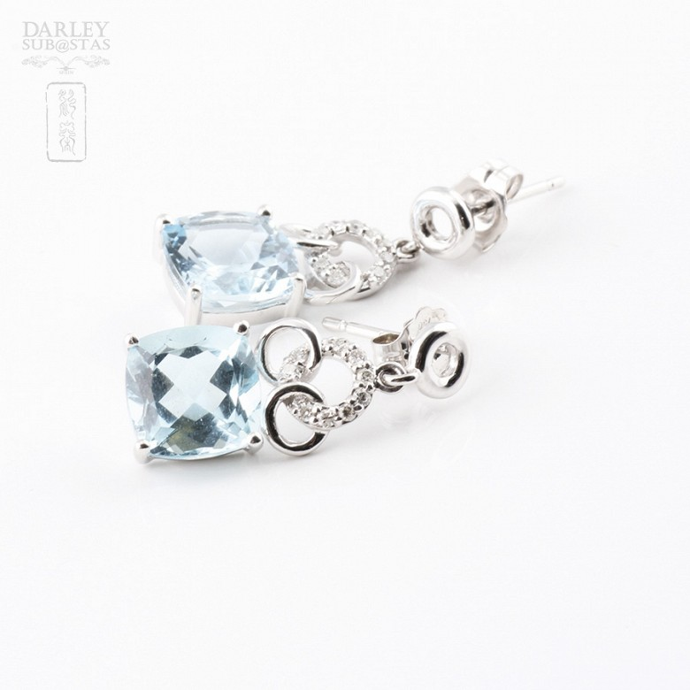 Earrings with  4.54cts  Aquamarine and Diamond in 18k White Gold - 1