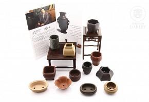 Juego único de miniaturas de macetas de bonsái, Maestro Gu Shaopei.