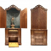 Walnut cabinet-chapel, 20th century