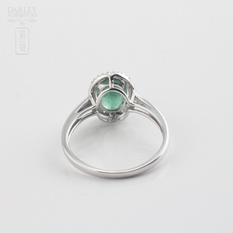 1.21克拉祖母绿配钻石18K白金戒指 - 3