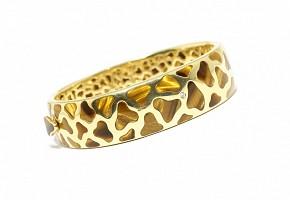 Esclava de oro amarillo de 18k con brillantes y ojo de tigre.