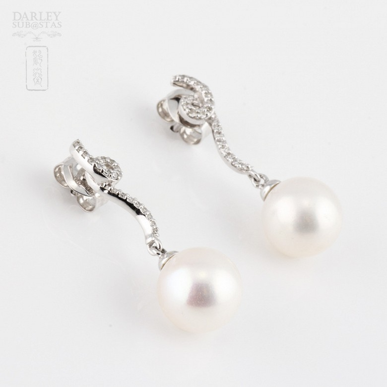 earrings pearl and diamond in 18k white gold - 3