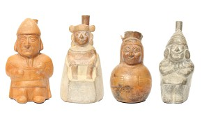 Lot of four kings shaped terracotta containers