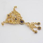 Aderezo de Fallera color azul Zafiro y dorado - 9