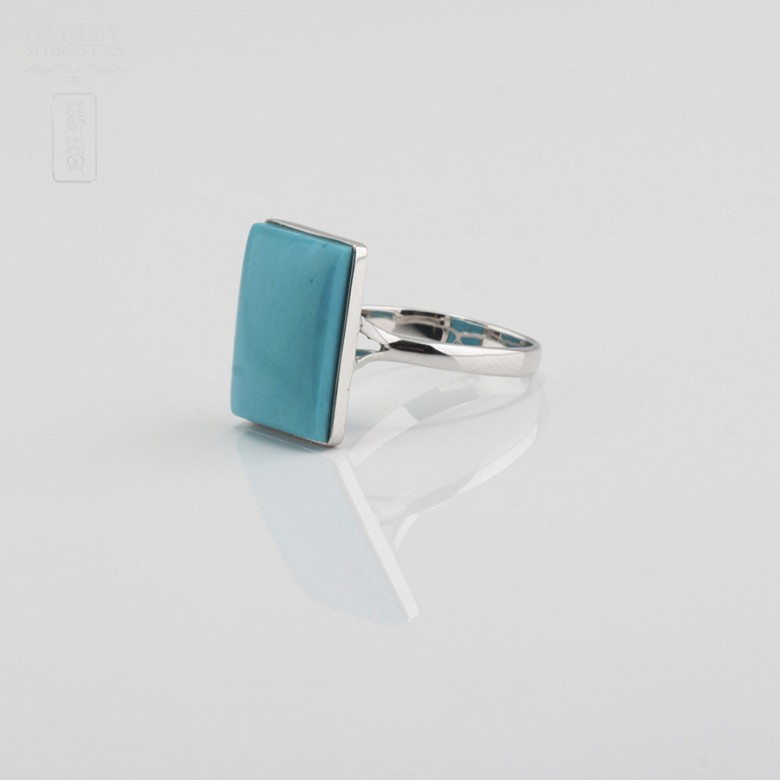 Ring Natural Turquoise  in 18k White Gold - 1