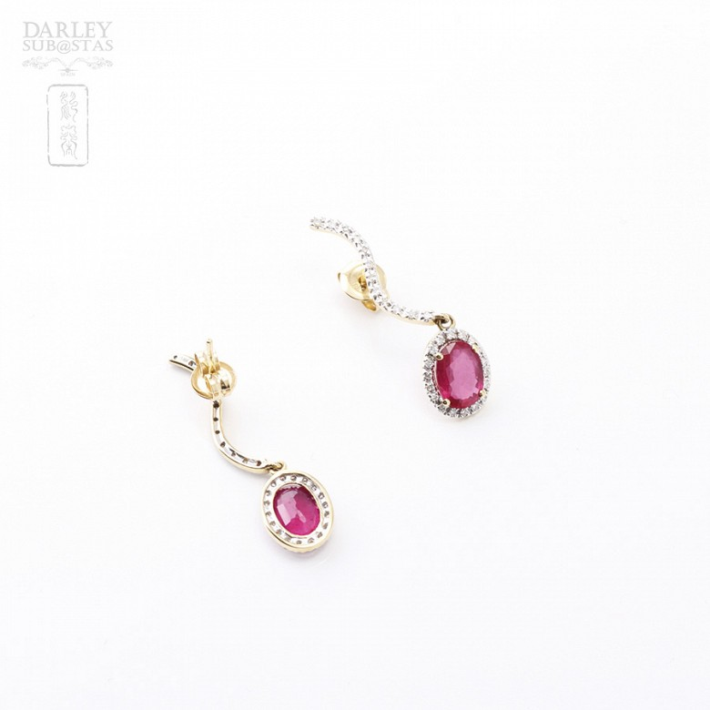 Earrings ruby and 2.18cts diamond in 18k yellow gold - 2
