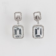 Earrings with aquamarine 6.45cts and diamond  in white gold