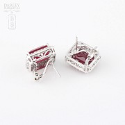 earrings with ruby 14.13cts and diamond 18k - 1