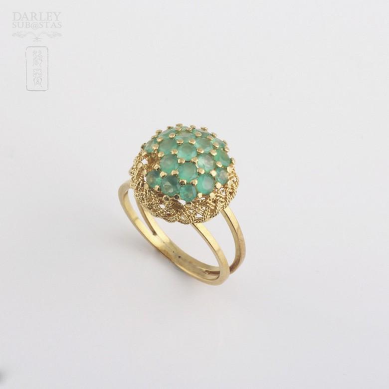 1.5克拉祖母绿18K黄金戒指 - 3